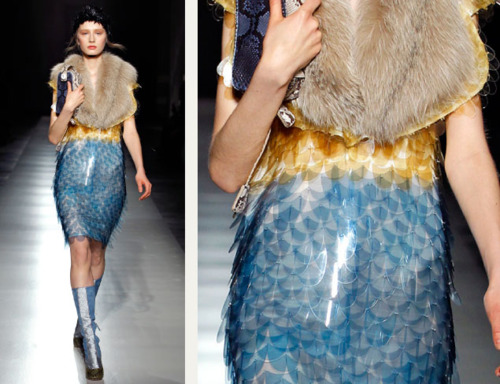 Sequins Reimagined | The Cutting Class. Large yellow and blue sequins like scales at Prada AW11.