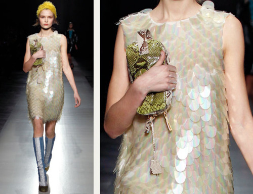 Sequins Reimagined | The Cutting Class. Large sequins with a pearlescent finish on a shift dress from Prada AW11.