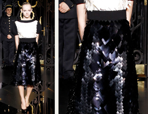 Sequins Reimagined | The Cutting Class. Jagged effect caused by large version of glossy black sequins, Louis Vuitton, AW11.