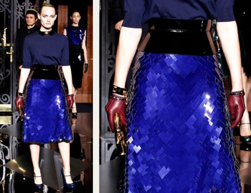 Sequins Reimagined | The Cutting Class. Jagged effect caused by large version of glossy blue sequins, Louis Vuitton, AW11.