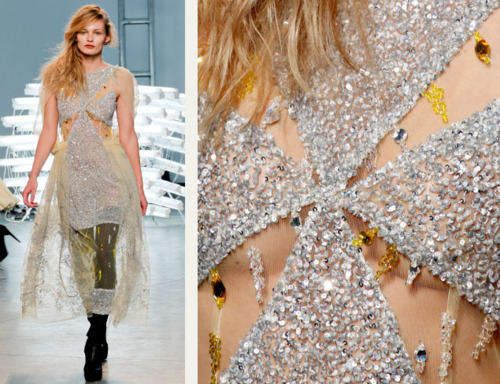 Sequins Reimagined | The Cutting Class. Minute silver sequins cover fabric at Rodarte, AW11.