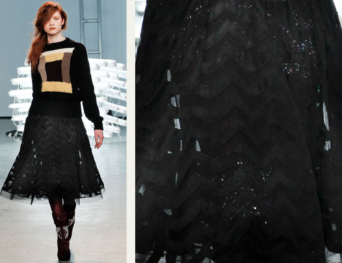 Sequins Reimagined | The Cutting Class. Sequins under sheer black fabric skirt at Rodarte AW11.