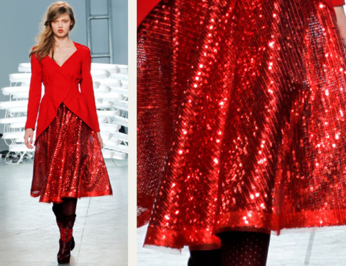 Sequins Reimagined | The Cutting Class. Shimmering red sequinned fabric from Rodarte, AW11.