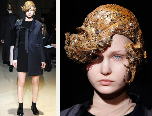 Sequins Reimagined | The Cutting Class. Hair styling at Comme des Garçons AW11 with golden sequins.