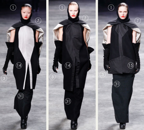 Fashion by Numbers: Range Planning | The Cutting Class. Rick Owens AW11, hooded black garments.