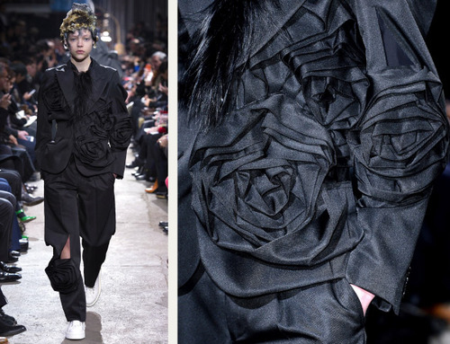Comme des Garçons Ribbon Roses | The Cutting Class. Large black satin rose motifs.