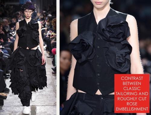 Comme des Garçons Ribbon Roses | The Cutting Class. Contrast between classic tailoring and roughly cut rose embellishment.