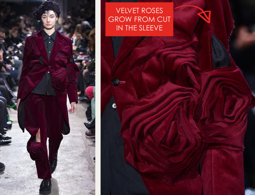 Comme des Garçons Ribbon Roses | The Cutting Class. Velvet roses grow from cut in the sleeve.
