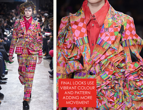 Comme des Garçons Ribbon Roses | The Cutting Class. Final looks with vibrant patterned fabric. AW13.