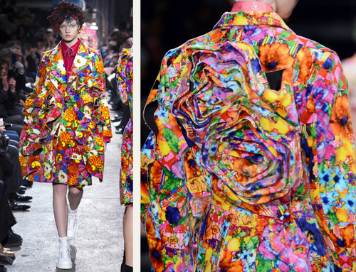 Comme des Garçons Ribbon Roses | The Cutting Class. Multi-colour roses in back of jacket. AW13.