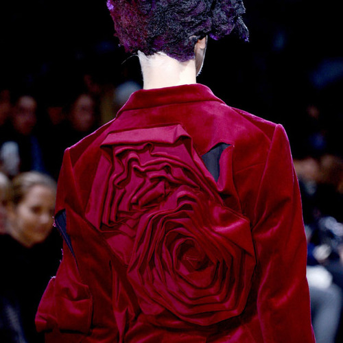 Comme des Garçons Ribbon Roses | The Cutting Class. Red roses in velvet tailoring, AW13, Paris.