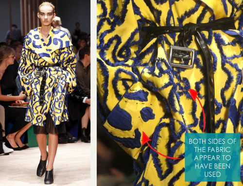 Graffiti Inspired Textiles at Céline | The Cutting Class. Céline, SS14, Image 3. Blue and yellow fabric used on both sides to create coat.
