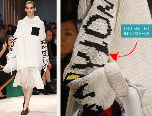 Graffiti Inspired Textiles at Céline | The Cutting Class. Céline, SS14, Image 21. Text knitted into sleeve as intarsia effect.