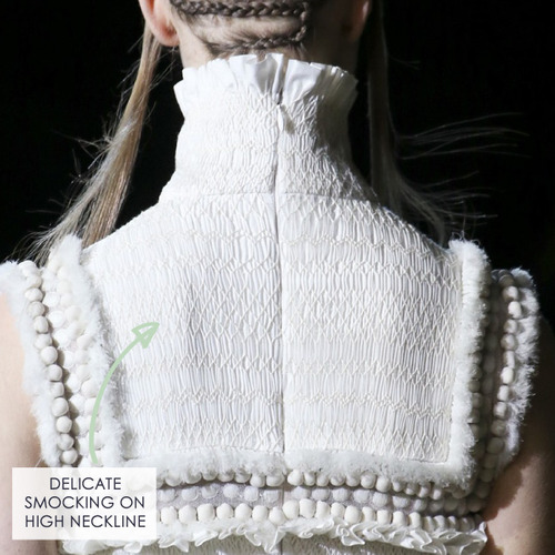 Fairytale Fabrics at Alexander McQueen | The Cutting Class. Smocking detail.