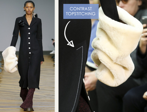 Fine Details and Contrasting Textures at Céline | The Cutting Class. Céline, AW14, Paris, Image 2. Contrast topstitching.