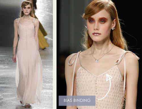 Glossary: Bias Binding at Rodarte AW14. The Cutting Class. Dress with bias binding straps.
