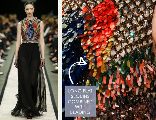 Glossary: Sequins | The Cutting Class. Givenchy, AW14, Paris. Example of embellishment using the longer style, flat sequins.