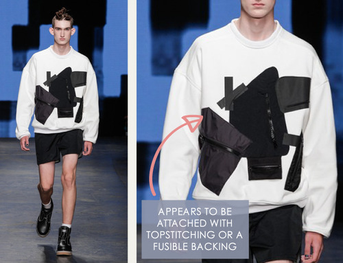 Glossary: Appliqué | The Cutting Class. Christopher Shannon, Menswear, SS15, London, Image 2.