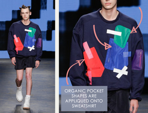 Glossary: Appliqué | The Cutting Class. Christopher Shannon, Menswear, SS15, London, Image 3.