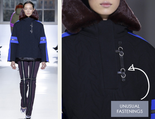 Glossary: Fastenings | The Cutting Class. Balenciaga, AW14, Paris. An example of an unusual fastening detail using metal hardware.
