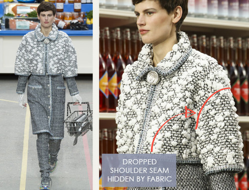 Glossary: Dropped Shoulder | The Cutting Class. Chanel, AW14, Paris. The position of the armhole seam line is hidden by the weave of the fabric.