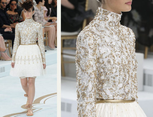 Encrusted Fabrics and Sculpted Silhouettes at Chanel | The Cutting Class. Chanel, Haute Couture, AW14, Paris, Image 20. Top is encrusted with beads.