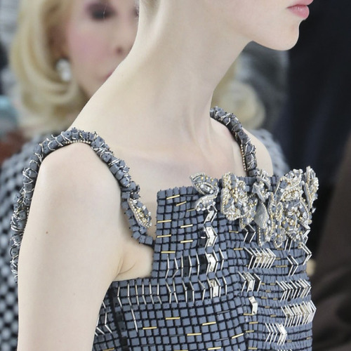 Encrusted Fabrics and Sculpted Silhouettes at Chanel | The Cutting Class. Chanel, Haute Couture, AW14, Paris, Image 23. Tiny concrete tiles.