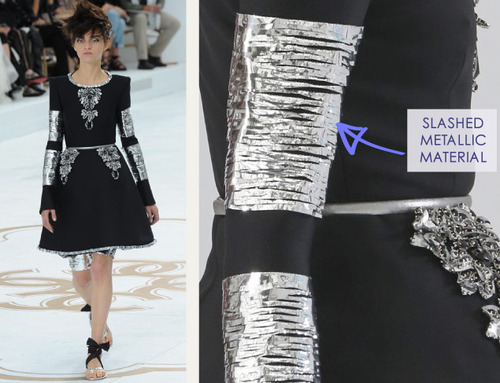 Encrusted Fabrics and Sculpted Silhouettes at Chanel | The Cutting Class. Chanel, Haute Couture, AW14, Paris, Image 26. Slashed metallic material.