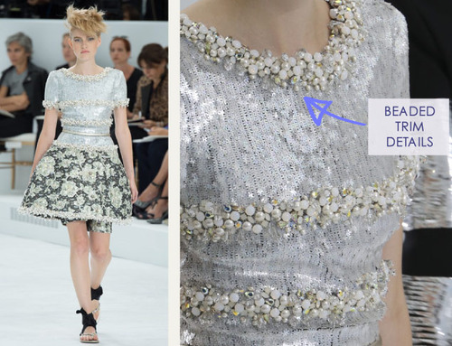 Encrusted Fabrics and Sculpted Silhouettes at Chanel | The Cutting Class. Chanel, Haute Couture, AW14, Paris, Image 27. Beaded trim details.