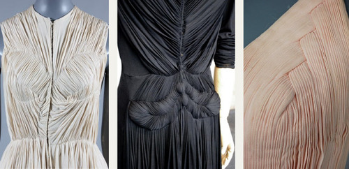Draping and Moulage | The Cutting Class. Detail images of Madame Gres garments.