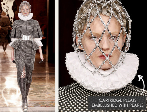 Creating Cartridge Pleats | The Cutting Class. Alexander McQueen, AW13, Paris. Example 1 of cartridge pleats embellished with pearls.