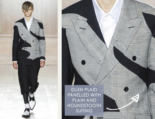 Glossary: Glen Plaid | The Cutting Class. Alexander McQueen, Menswear, SS15, London. Glen plaid is also referred to as glen check and Prince of Wales Check.