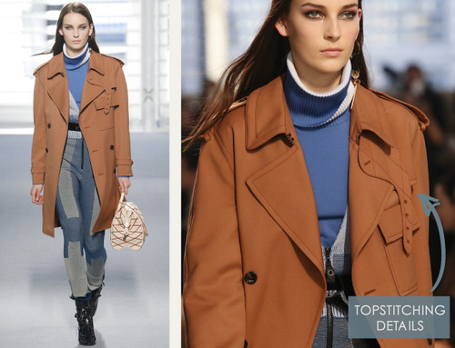 Leather and Knit Details at Louis Vuitton | The Cutting Class. Louis Vuitton, AW14, Paris, Image 5. Trenchcoat with topstitching.