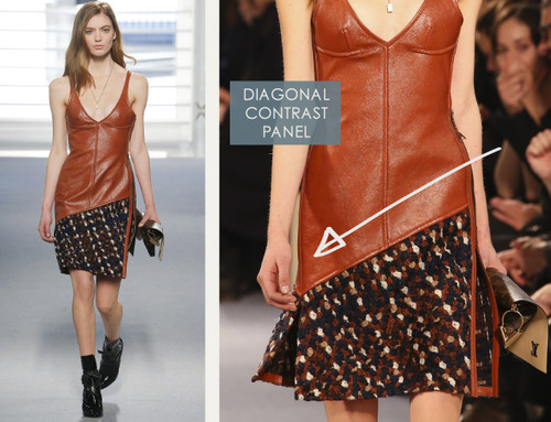 Leather and Knit Details at Louis Vuitton | The Cutting Class. Louis Vuitton, AW14, Paris, Image 19. Diagonal contrast panel.