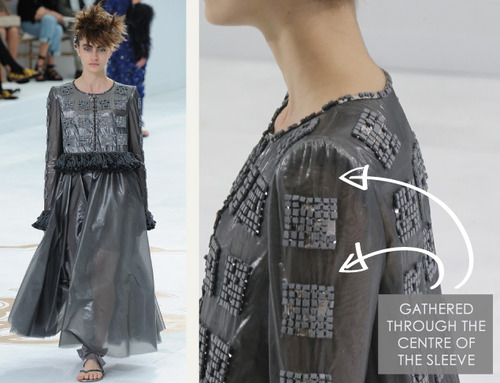 Sleeve Head Details at Chanel | The Cutting Class. Chanel, Haute Couture, AW14, Paris. Gathering runs down the sleeve with slight gathering at the sleeve head.