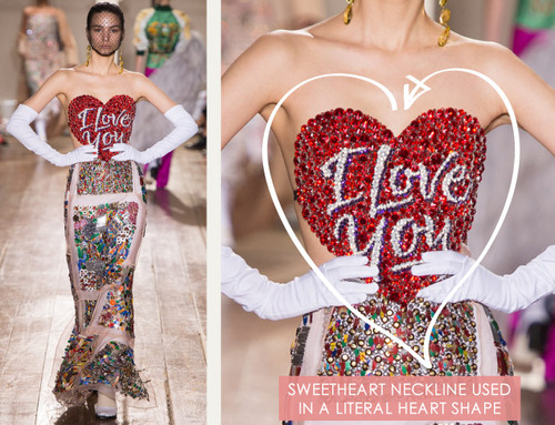 Glossary: Sweetheart Neckline | The Cutting Class. Maison Martin Margiela, Couture, AW14, Paris. Sweetheart neckline on a bejewelled bodice that is shaped like a heart.