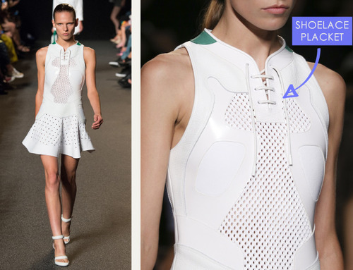 Glossary: Placket at Alexander Wang | The Cutting Class. Alexander Wang, SS15, New York. Dress placket designed like sneaker shoe laces.