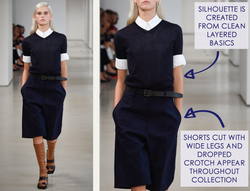Careful Proportions at Jil Sander   The Cutting Class. Jil Sander, SS15, Milan, Image 1. Shorts cut with wide legs and dropped crotch.