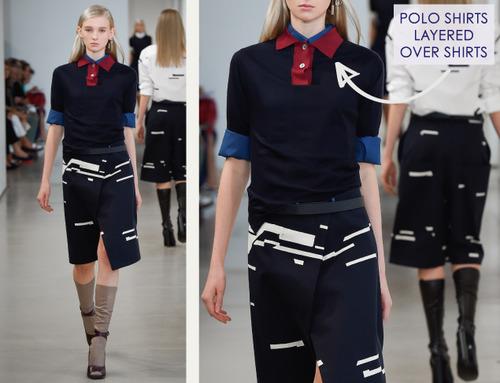 Careful Proportions at Jil Sander   The Cutting Class. Jil Sander, SS15, Milan, Image 3. Polo shirts layered over shirts.