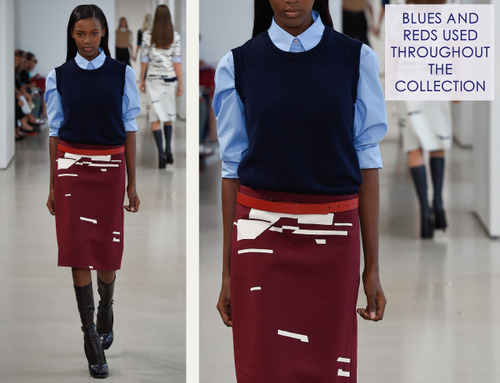 Careful Proportions at Jil Sander   The Cutting Class. Jil Sander, SS15, Milan, Image 5. Blues and reds used throughout the collection.