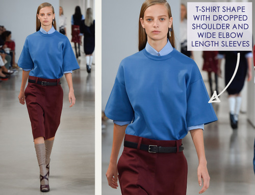 Careful Proportions at Jil Sander   The Cutting Class. Jil Sander, SS15, Milan, Image 7. T-shirt shape with dropped shoulder and wide elbow length sleeves.