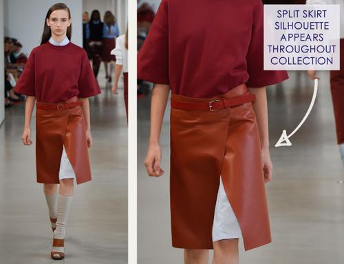Careful Proportions at Jil Sander   The Cutting Class. Jil Sander, SS15, Milan, Image 8. Split skirt silhouette.