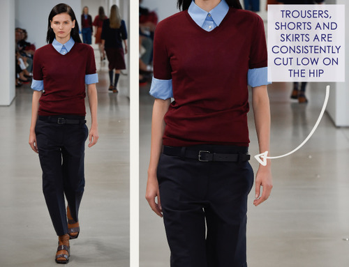 Careful Proportions at Jil Sander   The Cutting Class. Jil Sander, SS15, Milan, Image 10. Trousers sit low on the hips.