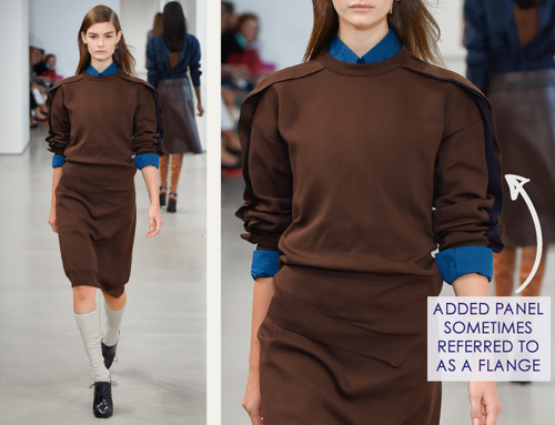 Careful Proportions at Jil Sander   The Cutting Class. Jil Sander, SS15, Milan, Image 14. Added panel sometimes referred to as a flange.