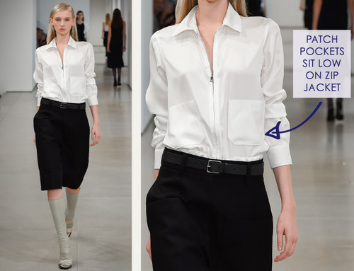 Careful Proportions at Jil Sander   The Cutting Class. Jil Sander, SS15, Milan, Image 17. Patch pockets sit low on zip front jacket.
