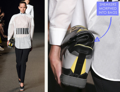 Sneaker References at Alexander Wang | The Cutting Class. Alexander Wang, SS15, New York, Image 1. Handbags are created to look like morphed sneakers.