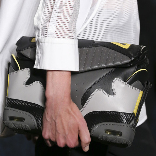 Sneaker References at Alexander Wang | The Cutting Class. Alexander Wang, SS15, New York, Image 2. Handbags are created to look like morphed sneakers.
