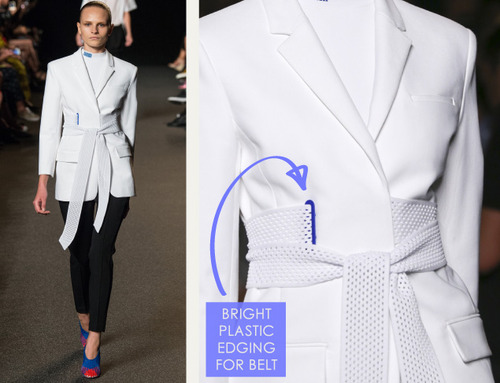 Sneaker References at Alexander Wang | The Cutting Class. Alexander Wang, SS15, New York, Image 3. Bright plastic edge trim used for belt.