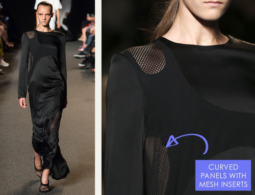 Sneaker References at Alexander Wang | The Cutting Class. Alexander Wang, SS15, New York, Image 9. Long evening dress shapes with curved mesh panels.