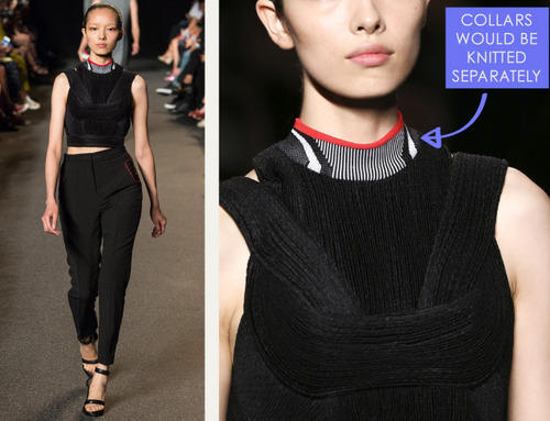 Sneaker References at Alexander Wang | The Cutting Class. Alexander Wang, SS15, New York, Image 12. Collars would usually be knitted separately and attached.